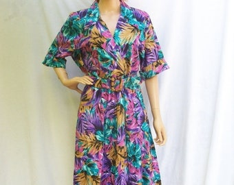 ON SALE 80s Tropical Floral Dress size Large Extra Large Full Skirt