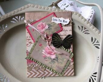 Handmade Card Mom - Birthday Card Mom - Mother's Day Card - Pink Rose Mom Card