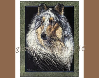 Rough Collie Dog Fine Art Note Card - 5x7