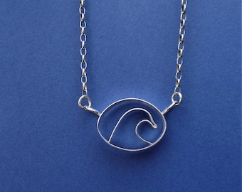 Wave design necklace, Sterling silver wave pendant
