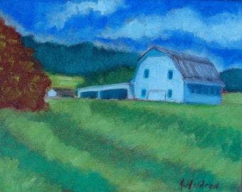 Impressionist Realism Original Oil Painting Barn North Carolina Mountains Farmhouse Home Rustic Decor SALE Free Shipping