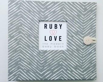 BABY BOOK   Gray Freeform Arrows Baby Book   Baby Memory Book