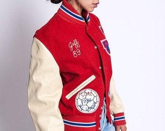 30% off SPRING SALE The Vintage Letterman Varsity Soccer Athletic Jacket