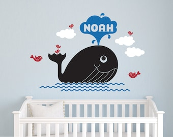 Whale Name Wall Decal: Personalized Ocean Cute Whale Baby Nursery, Sea Life Wall Stickers, Kids Under-the-Sea Room Decor