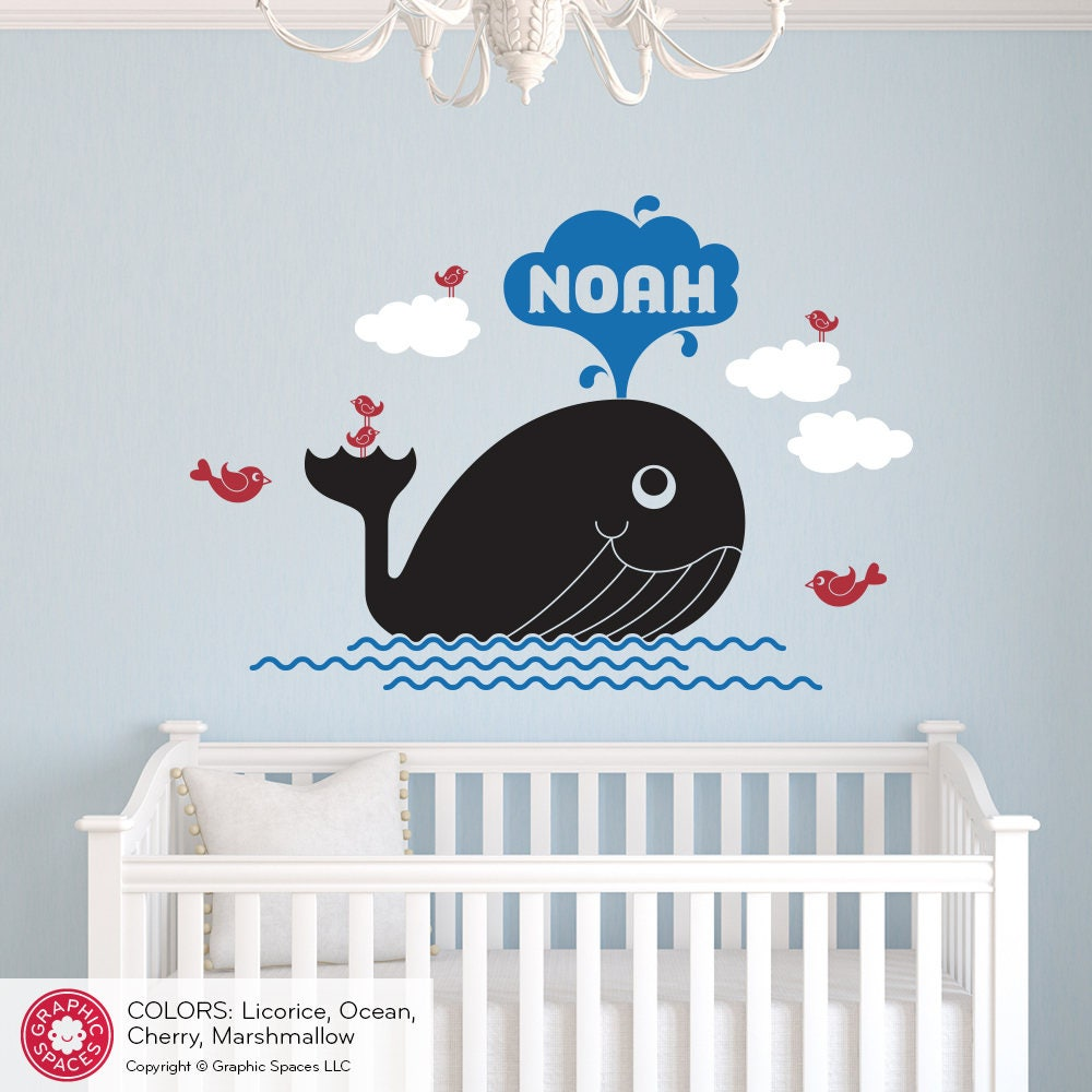 Whale Name Wall Decal Personalized Water Spout Baby Nursery