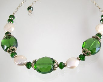 Downton Abbey Style Emerald Crystals Coin Pearls Silver  Necklace