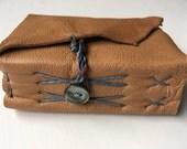 small leather journal, mocha pocket journal, backpack journal, plein air journal, leather wrap journal