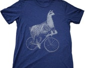 CYBER MONDAY SALE Llama on a Bicycle Tee Shirt - Unisex American Apparel T-Shirt