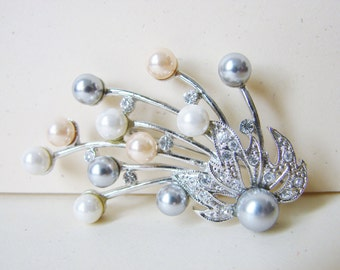 Vintage silver and white/ pink/ black pearl flower cocktail brooch with clear crystals (I4)