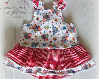 Dumbo circus girl infant romper with skirts and flutter sleeves
