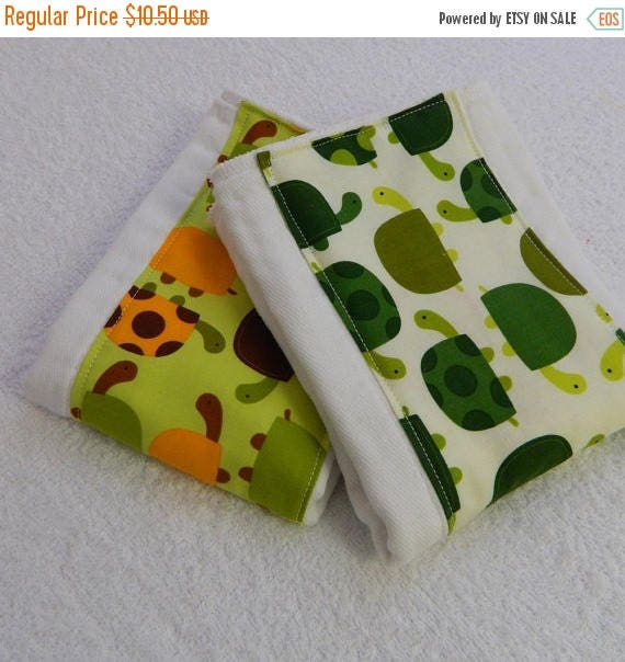 SALE Turtle Burp Cloths - Green, Orange, & Brown - set of 2 // Green Turtle Burp Cloths // Cotton Diaper Burp Cloths
