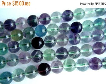 SALE Multi Fluorite smooth round bead- 8mm- 7.5 inch