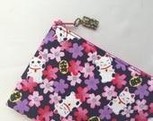 Maneki-neko & Sakura Zipper Pouch/ Pencil Case - Indigo