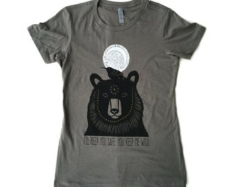 Women's Bear and Hummingbird T Shirt Womens Clothing