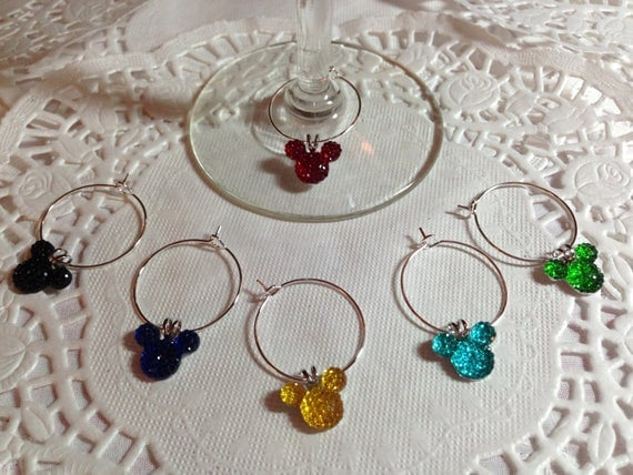 Hidden Mickey Mouse Ears Wine Charms in Bright Colors Disney Themed Shower Party Wedding Free Gift Box