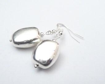 Silver Nugget Earrings
