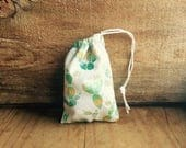 Mini Drawstring Pouch - Reusable Gift Bag - Jewelry Pouch - Gift Card Bag - Cactus Print