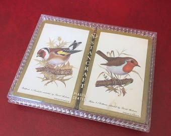 Vintage Stancraft Robin & Goldfinch Playing Cards with Storage Case