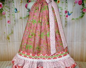 Girls Dress 5/6 Coral Peach Cream Floral Tropical Palm Trees Pillowcase Dress, Boutique Pillowcase Dress, Pillow Case Dress, Sundress