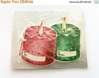 SALE 30% OFF CHRISTMAS Vintage Christmas Gift Tags Tie String Tags Red Green Candles Nos New Old Stock Package of 5
