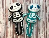 """Handmade Skeleton Plush Doll 18"""" Black or Aqua / Halloween Plush / Skeleton Plush / Halloween Decoration / Ready to Ship"""