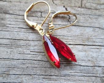 Slim Ruby Red Vintage Czech Glass Navette Marquise Earrings