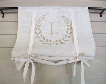 White Burlap Tan Monogram 48 Inch Long Swedish Roll Up Window Shade Stage Coach Blind Tie Up Curtain Swag Balloon