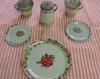 Ohio Art Co. Rose Flower Tea Set, Vintage Child's Tea Set, Collectable Tin Tea Set