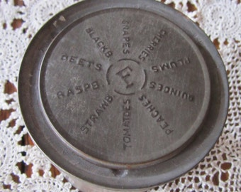 RARE- 1800s - Tin - Fruits Storage/Canning/Preserving - Container - Embossed Names Of Fruits on lid