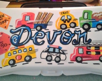 Hand Painted and Personalized Baby Wipes Travel Box - Boy