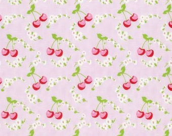 NEW Rambling Rose from Tanya Whelan Cherries on Pink  YES!! Continuous fabric cuts and shipping is combined