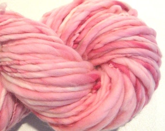 Bulky Handspun Yarn Almost Solid Pink 94 yards hand dyed merino wool pink yarn waldorf doll hair knitting supplies crochet supplies
