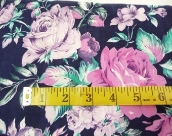 Vintage Cranston Fabric, Cotton Fabric, Pink Roses, Purple Flowers, Sewing Supplies, Sewing Fabric, Dark Blue Fabric, Dress Fabric, Crafts