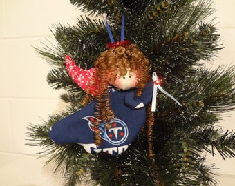 Tennessee Titans fabric angel ornament #3