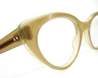 Vintage Pearly Gold French Cat Eye Glasses Frame