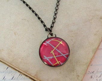 Pink Vintage Crazy Quilt Long Necklace Stained Glass Jewelry