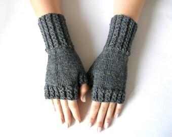 Fingerless Mittens, Grey, size M/L