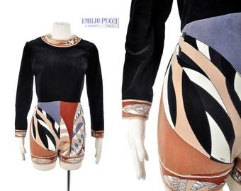 60s PUCCI designer jumpsuit / 1960s Emilio Pucci border print velvet hotpants romper