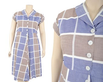 """40s chambray plaid dress / blue and brown selvedge cotton dress / 1940s day dress .. 35.5"""" waist"""