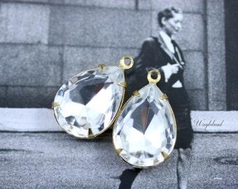 Czech Pear Rhinestones 1 Loop Closed Back Brass Settings 18x13mm Bridal Wedding Crystal Clear - 2