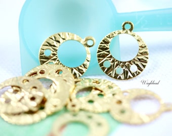 Gold Toned Round Chandelier Charm Connector - 12 .