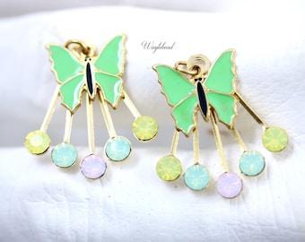 Swarovski Crystal Pendant Dangle Enamel Butterfly Charm Yellow Opal Chrysolite Opal Rose Water Opal & Light Pink 22x25mm - 2