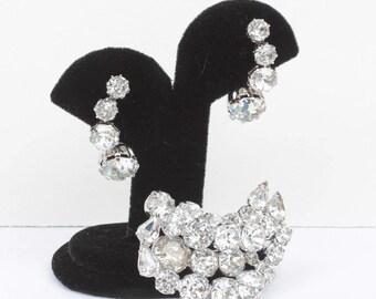 Crystal Rhinestone Brooch and Earrings Set Kramer Signed Wedding Diva