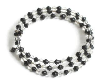 Black and Clear Crystal Memory Wire Coiled Bracelet Vintage