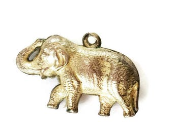 Sterling Silver Elephant Charm Upturned Trunk Vintage Charm for Bracelet