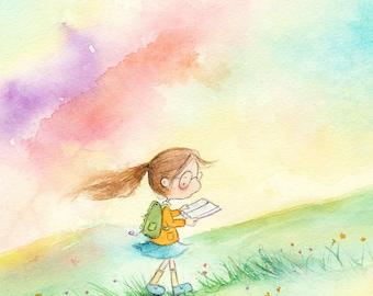 The Reading Girl - Auburn Hair and Rainbow Sky - Art Print