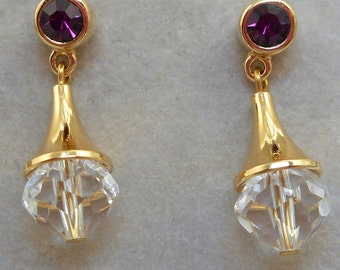 Vintage Crystal Drop Post Earrings