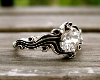 White Sapphire Ring in Sterling Silver with Ocean Sea Surf Theme with Blackened Grooves Size 6.75