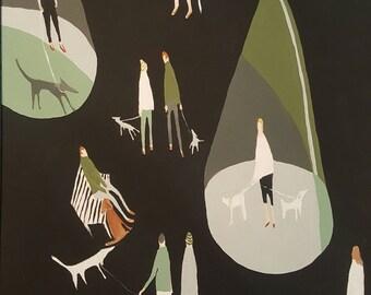 "Original Painting , 16 x 20, Minimalist, black and white,Folk art, modern, landscape, dogs, people, park ""Night Walk"""