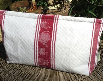 Vintage Linen/Cotton -Coffee Motif Storage Bag